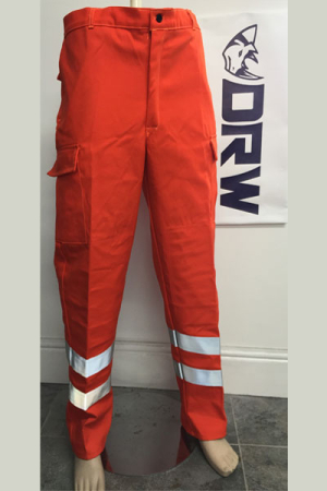 be3c508df4ab Fire Retardant – Flourescent Orange – Trousers – Cargo Pkts - Knee Pad Pkt  - Elasticated Back - Single Hi Vis Tape - DRW